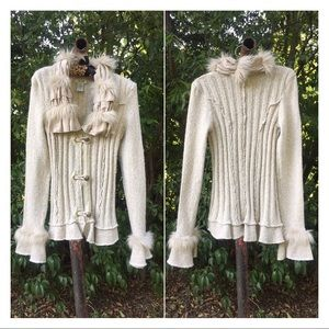 Ivory Faux Fur Ruffle Trim Cardigan Sweater